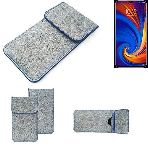 K-S-Trade Filz Schutz Hülle Für Lenovo Z5s Schutzhülle Filztasche Pouch Tasche Hülle Sleeve Handyhülle Filzhülle Hellgrau, Blauer Rand