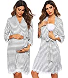 Ekouaer Clothes For Hospital After Baby Maternity Pajamas Cotton Robes Striped Nightgown Nursing Sleepwear Grey S