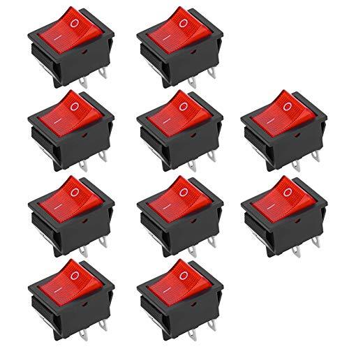 Weikeya Interruptor de 2 posiciones de 2 posiciones, interruptor basculante KCD4 resistencia al calor Mini barco basculante con plástico para electrodomésticos