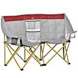 Outsunny Double Seat Camping Chair Folding Lawn Loveseat w/Storage Pocket & Cup Holder Compact and Sturdy in a Bag for Outdoor, Beach, Picnic, Hiking, Travel, Red & Grey