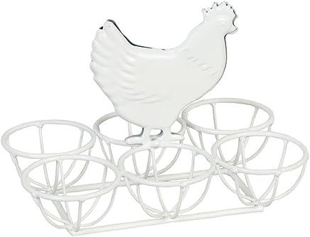 Preisvergleich für Clayre & Eef 6Y0871W Eierhalter Eierständer Eierbecher für 6 Eier Huhn weiss 16 x 11 x 12 cm