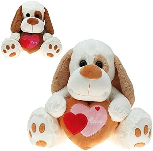 Kingdiscount 1 Stück Plüsch Hund mit Herz  Hauke  80 cm
