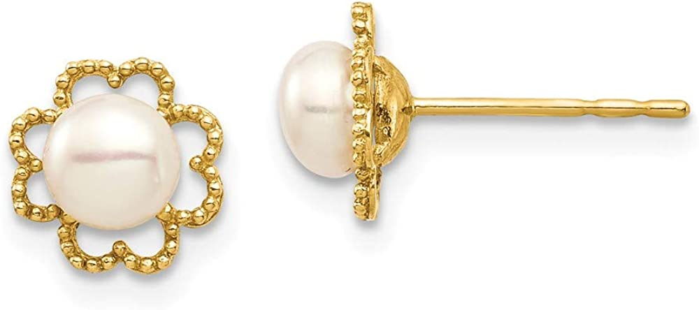14k Yellow Gold 5mm White Button Freshwater Cultured Pearl Milgrain Post Stud Earrings Ball Fine Jewelry For Women Gifts For Her