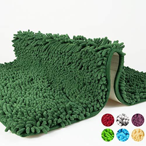 Badematte, Badezimmerteppich rutschfest, Badvorleger waschbar, Badteppich aus Chenille Mikrofaser für Badezimmer, dunkel grün, Duschvorleger antirutsch, schadstoffgeprüft, 50x80cm