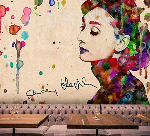 Hepburn klassiek Europese en Amerikaanse fotobehang met filmster van Hepburn, handbeschilderd wandbehang uit de stang van de shop voor schoonheidskleding van de graffiti-nagel 120cm*100cm