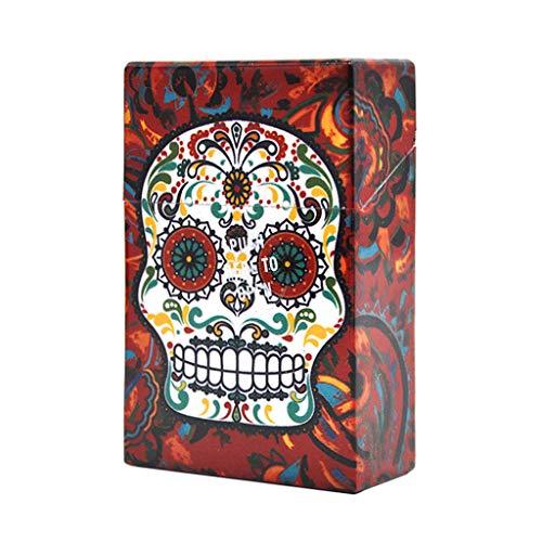 JIAAN Caja de Cigarrillo Pitillera Cigarrillos 2 Piezas plástico Creativo cráneo Caja de Cigarrillos con Caja de Cigarrillos Cubierta automática Tiene Capacidad para 20 Cigarrillos