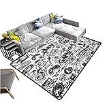 Mehom Alfombra de área de videojuegos monocromo estilo boceto para juegos de diseño de carreras, dispositivo para adolescentes de los años 90 3 x 5 pies alfombra
