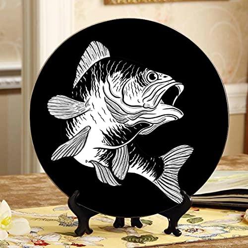 Platos decorativos de placa decorada con bajo bocazas saltando, placa oscilante para el hogar con soporte de exhibición, decoración para el hogar, platos para cocina