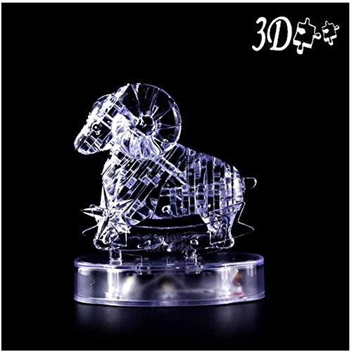3D-Puzzle-Kristall - Zwölf Sternbilder Widder 3D-Kristall-Puzzle mit LED-Lichtern