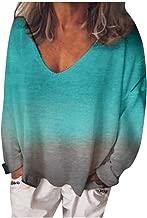 Bxzhiri Tunic Tops for Women Plus Size Women's Fashion V-Neck Loose Casual Long Sleeve Dyeing T-Shirt Blouses Tunic Tops