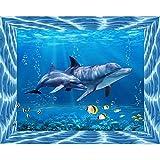 Lazodaer - Kit de pintura de diamante para adultos y niños, decoración del hogar, oficina, oficina, oficina, madre y niño delfín, 50 x 39,9 cm