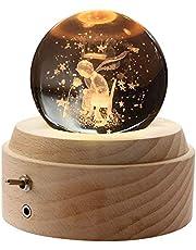 オルゴール 星の王子さま「第2世代」 記念日 プレゼント バレンタインデー 誕生日 ギフト クリスマスプレゼント 月のランプ クリスタル ボール ベッドサイドランプ LEDライト USB充電 おしゃれ 木製 手作り結婚祝い 卒業祝い 女性 彼女 ギフト 雑貨 かわいい 雰囲気 癒しグッズ 投影効果 曲目:星に願いを
