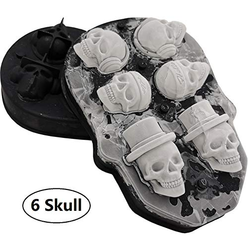 3D Skull Ice Mold-Food Grade Silicone Ice Cube Trays, Best Silicone Ice Mold for Whiskey, Cocktails and Vodka, Perfect Ice Cube Maker for Party and Holiday, Black
