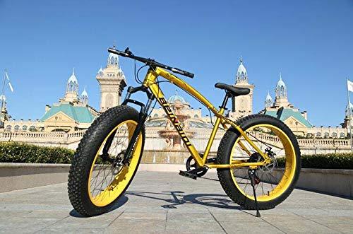 GASLIKE Mountain Bike Hardtail, Bici Cruiser per Pneumatici Fat con Freno a Doppio Disco, Telaio in Acciaio ad Alto tenore di Carbonio, Bicicletta con Sedile Regolabile,d'oro,26 inch 7 Speed
