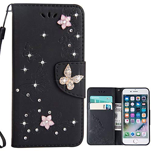 for iPhone 5 5S SE Case LAPOPNUT Bling Sparkly Diamonds Gems Butterfly Design Premium PU Leather Flip Wallet Case with Card Holder Magnetic Kickstand Cover, Black