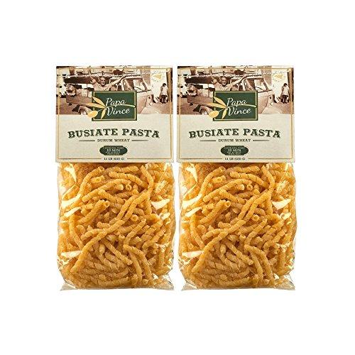 Aus Italien - Papa Vince - Busiate Hausgemachte Pasta aus lokalem Handwerker in Sizilien, Italien - mit antiken Grieß, Hartweizen ,Hält leichte Meeresfrüchte-Sauce wie ein Magnet- 2 Packen - 1 Kg