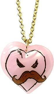 X KidRobot I Love Mustache Long Heart Necklace in Pink