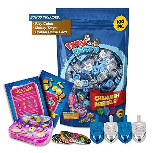 Izzy 'n' Dizzy Hanukkah Dreidels - Metallic Blue and Silver Dreidel - 100 Pack Medium - Dreidels in Bulk