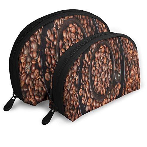 Trousse À Maquillage Naturel Grains De Café Portable Shell De Toilette Organisateur pour Les Femmes Thanksgiving Day Gift 2 Pack