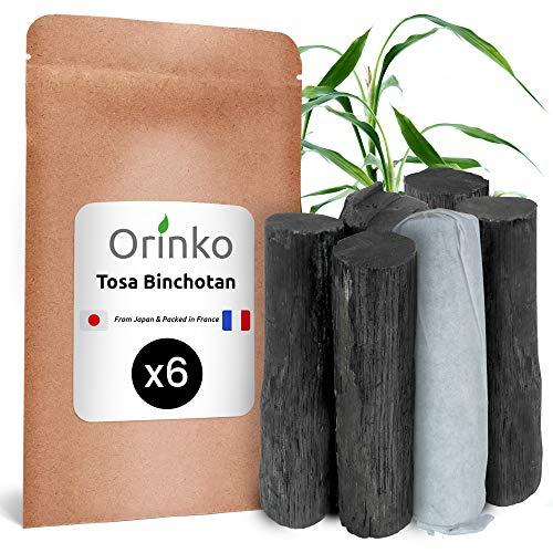 orinko Binchotan Japonais de TOSA x6 (150G, 25G x 6)   Authentique Charbon Actif Binchotan Traditionnel du Japon (Kochi) Issu de Chêne Ubame pour Purification d'eau en Carafe