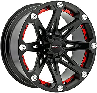 Ballistic 814 Jester 17x9.0 Flat Black Wheel with Removable Red Inserts 5x127mm Bolt Pattern / +12mm Offset / 83.7mm Hub Bore