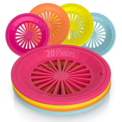 Besti Reusable Plastic Paper Plate Holders 10 Inch, 20 Piece Round Plastic Paper Plate Holder Set with Snap-In Grooves, Dishwasher Safe, 4 Assorted Colors