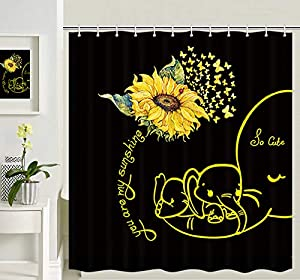 Sunflowers Elephant Art Shower Curtain, Butterflies Flying on Sunflowers You Are My Sunshine Word and Baby Elephant and Mom Shower Curtain Bathroom , 69X70 IN Polyester Fabric 12 Hooks Black Yellow