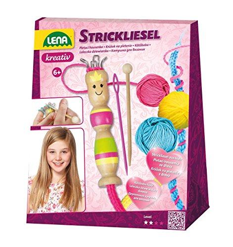 Lena 42375 - Bastelset Strickliesel, Komplettset mit Liesel und Strickhaken aus Holz, Stricknadel und 3 farbige Garne je 15 m, Strickset für Kinder ab 6 Jahre, Starter Set zum Stricken lernen