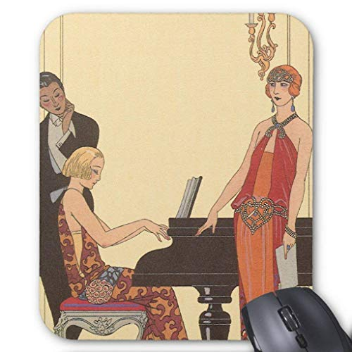 Computer accessories anti-friction wristband Vintage Music, Art Deco Pianist Musician Singer Mouse Pad 18X22