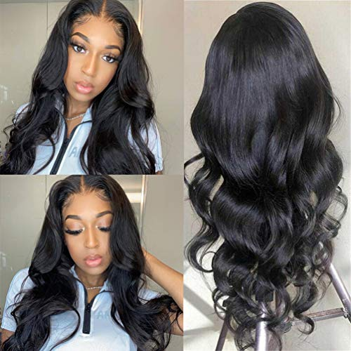 150% Density Lace Front Human Hair Wigs for Black Women 9A Brazilian Body Wave Wig Pre plucked Human Hair Wigs with Baby Hair Bleached Knots 18inch