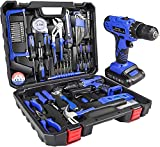 jar-owl 21V Tool Set with Drill, 350 in-lb Torque, 0-1350RMP Variable Speed, 10MM 3/8'' Keyless Chuck, 18+1 Clutch, 1.3Ah Li-Ion Battery & Charger for Home Tool Kit