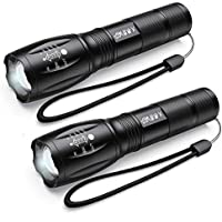 2-Pack Lqrly LED Tactical Flashlight with 5 Modes for Night Fishing Travel