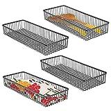 mDesign Juego de 4 organizadores de cajones universales de Metal – Cuberteros para ordenar los Utensilios y Accesorios de Cocina en los cajones – Cestas metálicas para Cocina y hogar – Negro
