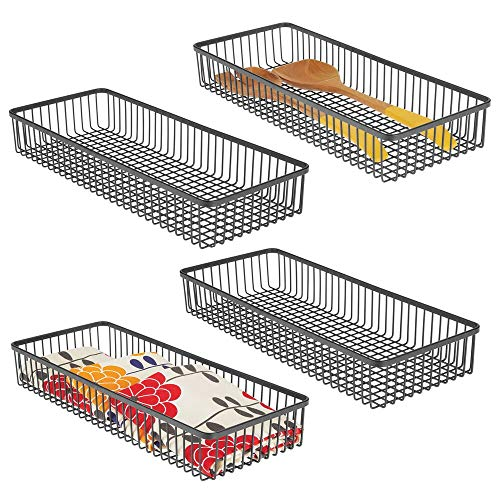 mDesign Metal Farmhouse Kitchen Cabinet Drawer Organizer Tray - Storage Basket for Cutlery, Serving Spoons, Cooking Utensils, Gadgets - 4 Pack - Black