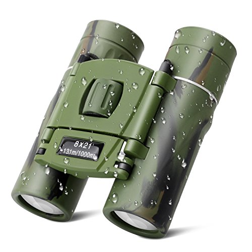 Kids Binoculars, 8x21 Compact Shock Proof Folding Telescope Camouflage Binoculars for Bird Watching, Outdoors Sports, Hiking and Concert Theater Opera, Best Gift Adults Children