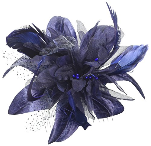 Inca Navy Fascinator on Headband/Clip-in for Weddings, Races and Occasions-9847