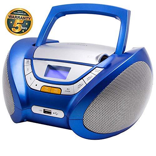 LAUSON CP446 CD-Speler met USB | Boombox Stereosysteem CD-Radio Draagbaare | Kinderradio met CD en MP3-Speler USB Port | Radio CD-Speler met Hoofdtelefoonaansluiting en Geïntegreerde Speakers (Blauw)