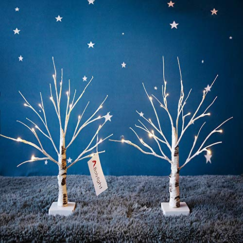 Bolylight 2 Packs LED Birch Money Tree Gift Holder Jewelry Holder Night Light Table Tree Lamp Centerpiece Great Decor for Home/Christmas/Party/Festival/Wedding