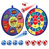 POKONBOY Kids Dart Board Game Set, 13.8 Inches Double Sided Dartboard with 8 Sticky Balls - Safe Throwing Darts Game for Kids Birthday Carnival Party Favors