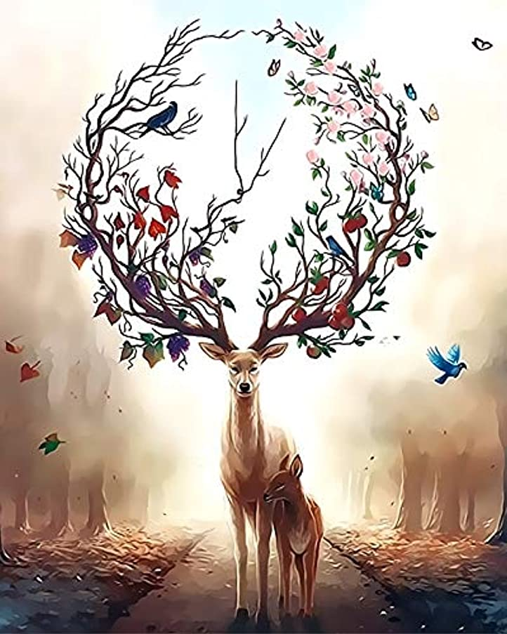 Newsight DIY Oil Painting Paintworks Paint by Number for Kids and Adults (16 by 20 inch Lucky Deer)