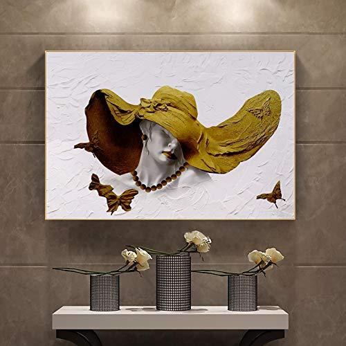 MECIKR Pintura en Lienzo Abstracta Mujer Sombrero póster Pared Arte imágenes Impresiones Sala de Estar sofᠠdecoración del hogar-40x60cm sin Marco