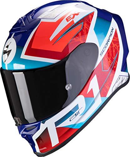 Scorpion NC Casco per Moto, Hombre, Blanco/Azul/Rojo, L