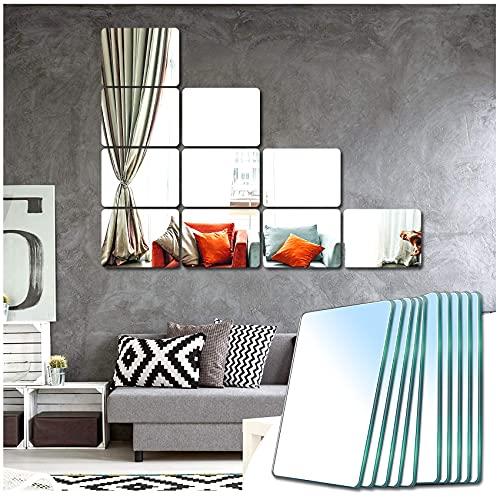 Sqinor Miroir Mural Verriere Adhesif Rectangulaire Decoratif Miroir Autocollant Decoration Maison pour Chambre Salon Porte (Broyage Fin, 15x23cm, 10 Pièces)