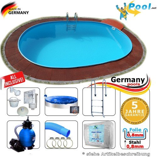 Ovalbecken 6,15 x 3,00 x 1,50 m Set Stahlwandpool Schwimmbecken Ovalpool 6,15 x 3,0 x 1,5 Swimmingpool Stahlwandbecken Fertigpool oval Pool Einbaupool Pools Gartenpool Sets Einbaubecken Komplettset