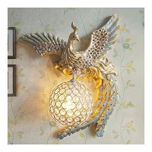 Phoenix lámpara de pared creativa de la lámpara de pared Luz de lujo Dormitorio Sala de la lámpara de pared de cristal Sala de TV pared del balcón de noche pared caliente de oro E14 (tamaño : Right)