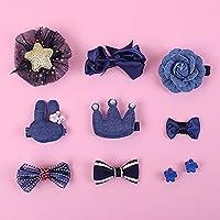 子供のための10個のヘアクリップキット小さな女の子幼児かわいいヘアアクセサリーヘアバレッタ、ギフトボックスの弓の花のヘアピン、青