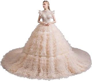 HXiaDyG Vestido de novia para novia, vintage, sexy, permeable, de tul, vestido de novia para la boda (color: foto color, t...