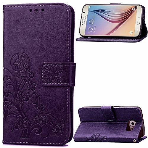 Tosim Galaxy S6 Hülle Klappbar Leder, Brieftasche Handyhülle Klapphülle mit Kartenhalter Stossfest Lederhülle für Samsung Galaxy S6/G920F - TOSDA040471 Violett