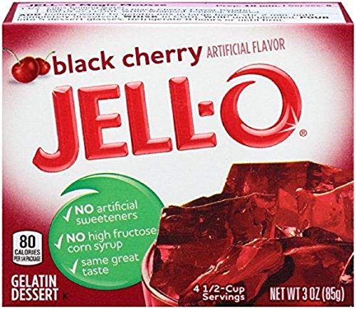 Jell-O Black Cherry Gelatin Dessert 3 oz. (4 Packs)
