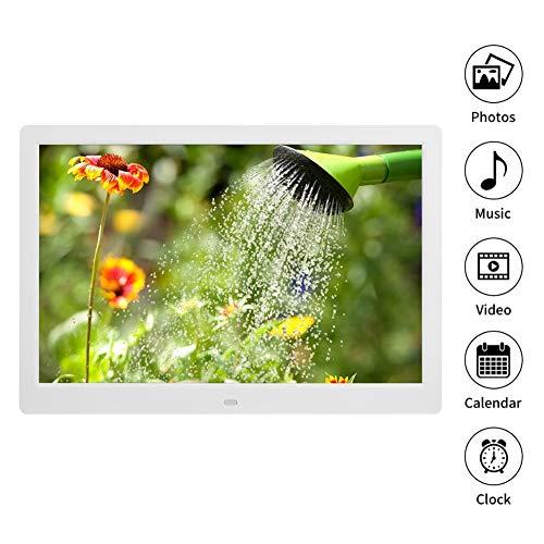 Digitale fotolijst, 15,4-inch elektronische fotolijst 1280 * 800 (16: 9), HD-videoframe-album met ondersteuning voor afstandsbediening Wifi-klok / U-schijf / JPG / JPEG / AV / MPG / MP4. (EU-wit)